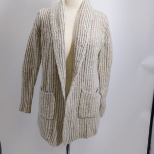 Loft natural ribbed open cardigan-sz S